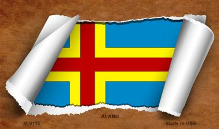 Aland Flag Scroll Wholesale Novelty Metal Magnet