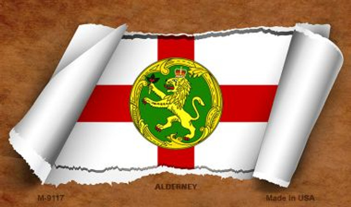 Alderney Flag Scroll Wholesale Novelty Metal Magnet