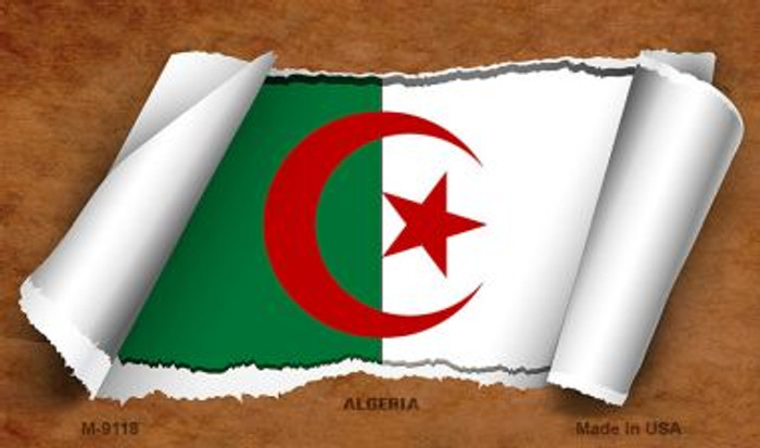 Algeria Flag Scroll Wholesale Novelty Metal Magnet