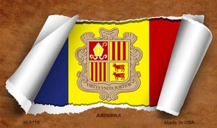 Andorra Flag Scroll Wholesale Novelty Metal Magnet