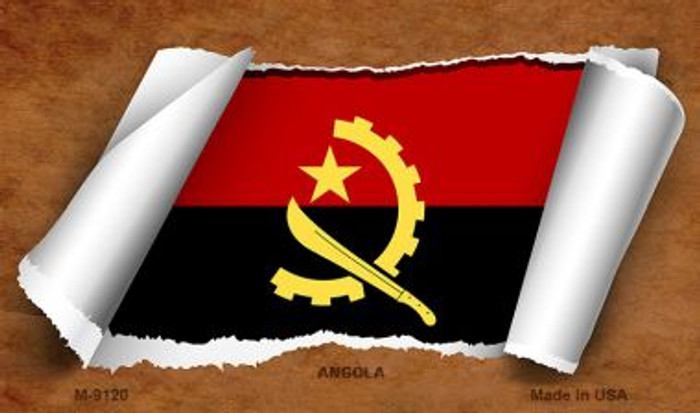 Angola Flag Scroll Wholesale Novelty Metal Magnet
