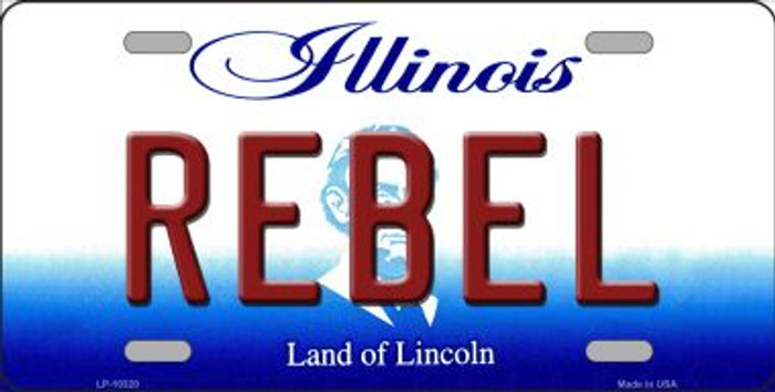 Rebel Illinois Background Metal Novelty License Plate