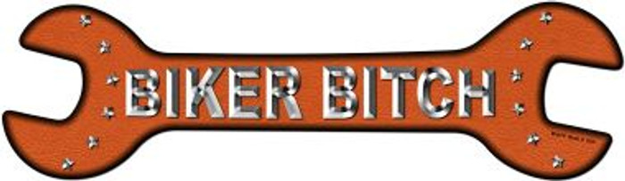 Biker Bitch Novelty Metal Wrench Sign