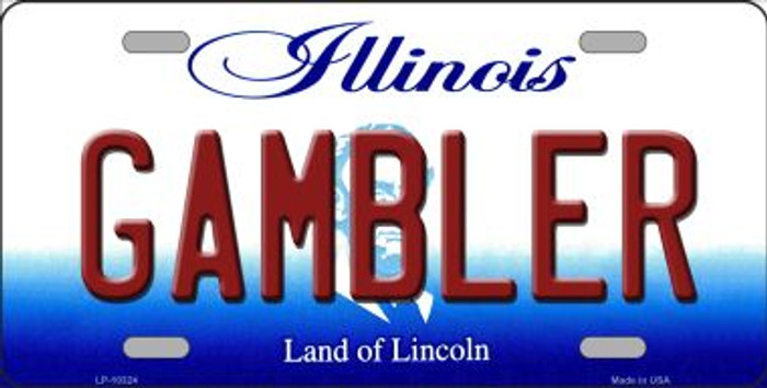 Gambler Illinois Background Metal Novelty License Plate