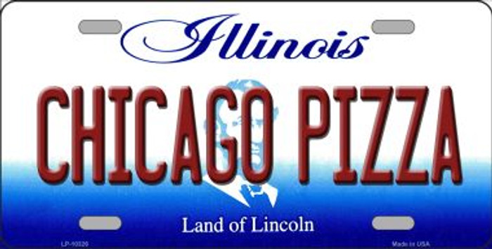 Chicago Pizza Illinois Background Metal Novelty License Plate
