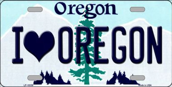 I Love Oregon Background Metal Novelty License Plate