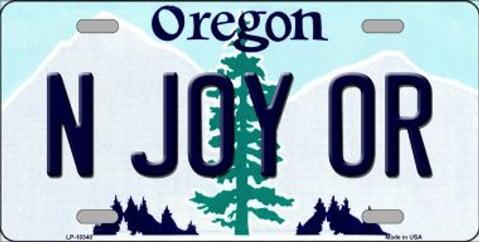 N Joy OR Oregon Background Metal Novelty License Plate