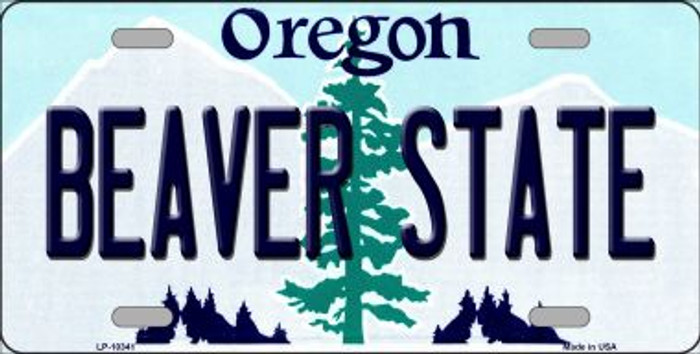Beaver State Oregon Background Metal Novelty License Plate