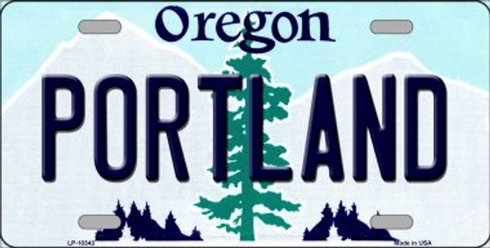 Portland Oregon Background Metal Novelty License Plate