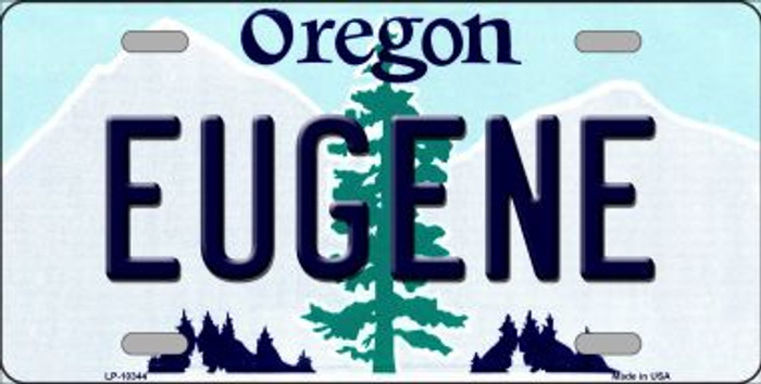 Eugene Oregon Background Metal Novelty License Plate
