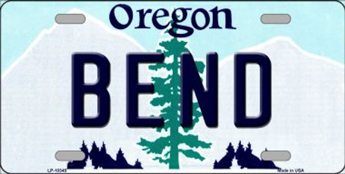 Bend Oregon Background Metal Novelty License Plate