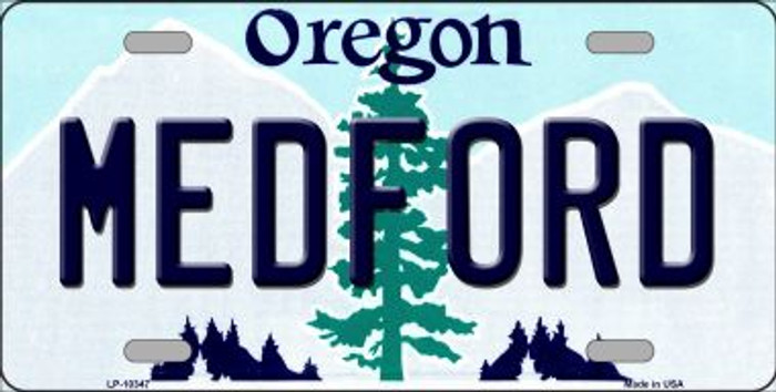 Medford Oregon Background Metal Novelty License Plate