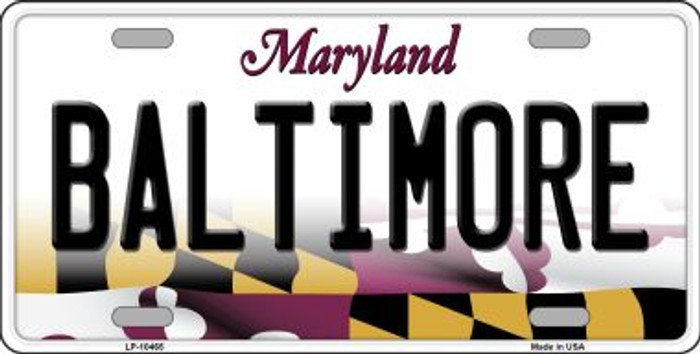Baltimore Maryland Background Metal Novelty License Plate