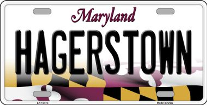Hagerstown Maryland Background Metal Novelty License Plate