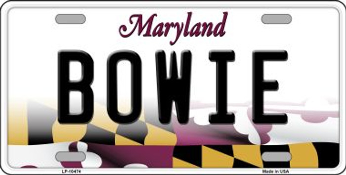 Bowie Maryland Background Metal Novelty License Plate