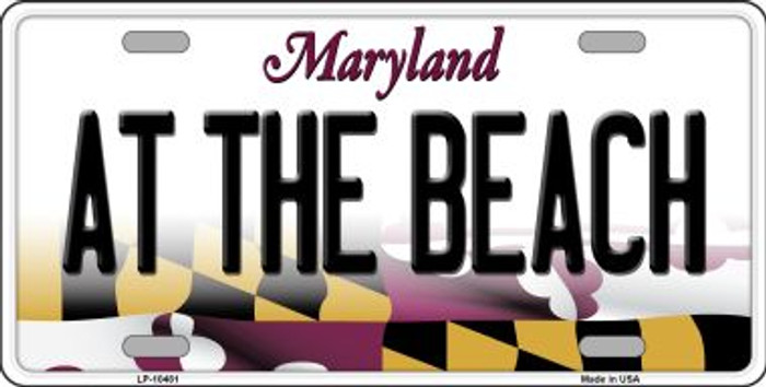 At The Beach Maryland Background Metal Novelty License Plate