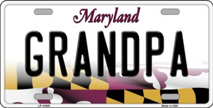 Grandpa Maryland Background Metal Novelty License Plate