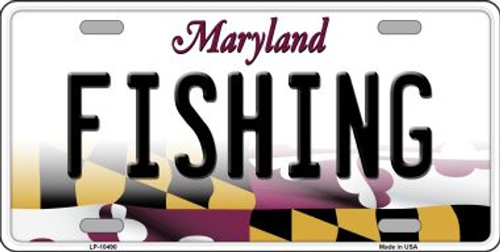 Fishing Maryland Background Metal Novelty License Plate
