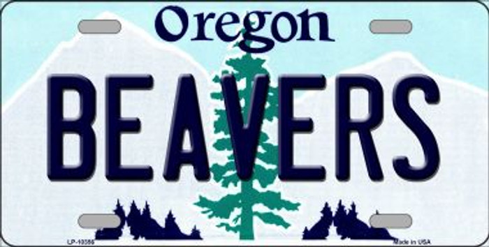 Beavers Oregon Background Metal Novelty License Plate
