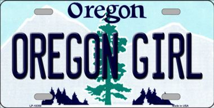 Oregon Girl Oregon Background Metal Novelty License Plate
