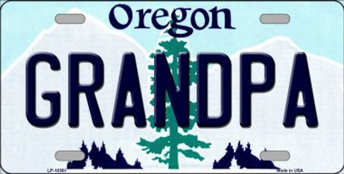 Grandpa Oregon Background Metal Novelty License Plate