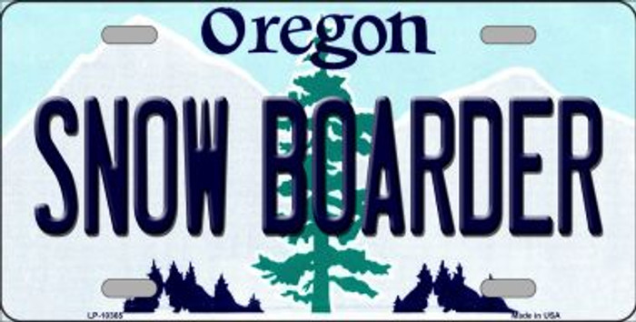 Snow Boarder Oregon Background Metal Novelty License Plate