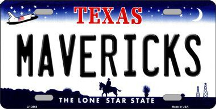 Mavericks Texas Novelty State Background Metal License Plate