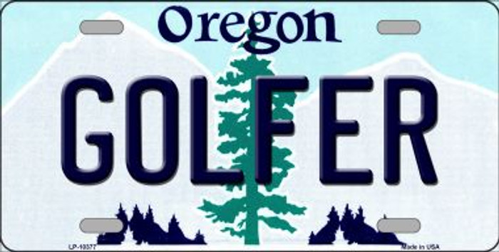 Golfer Oregon Background Metal Novelty License Plate