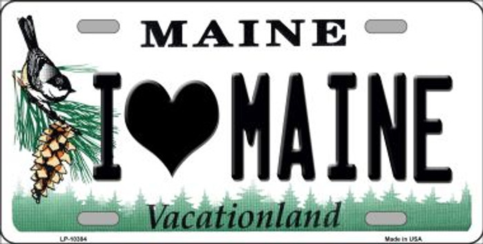 I Love Maine Background Metal Novelty License Plate