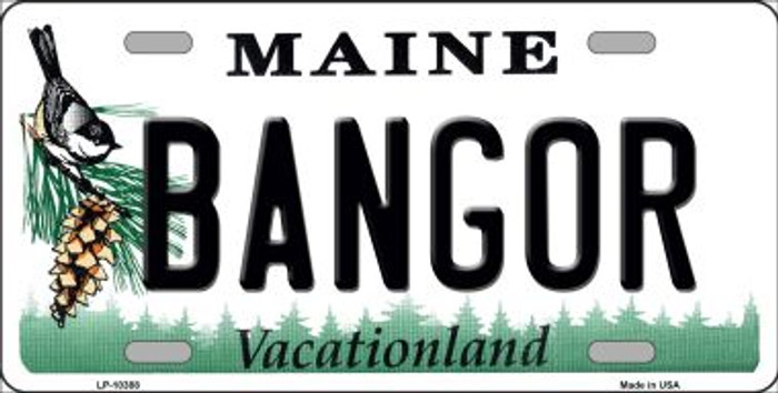 Bangor Maine Background Metal Novelty License Plate