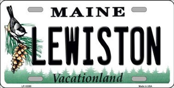 Lewiston Maine Background Metal Novelty License Plate