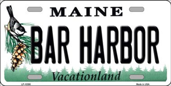 Bar Harbor Maine Background Metal Novelty License Plate