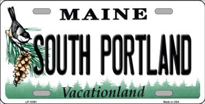 South Portland Maine Background Metal Novelty License Plate