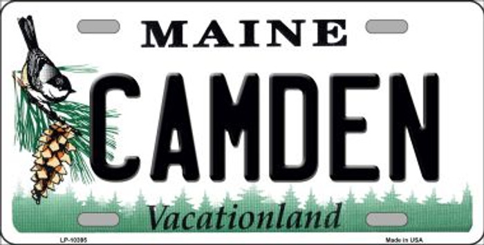 Camden Maine Background Metal Novelty License Plate