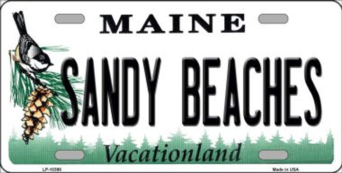 Sandy Beaches Maine Background Metal Novelty License Plate
