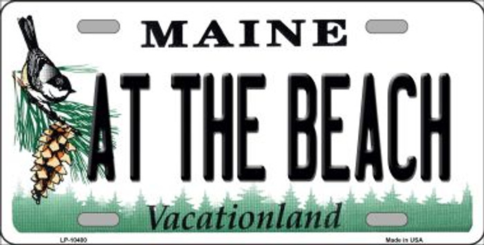 At The Beach Maine Background Metal Novelty License Plate