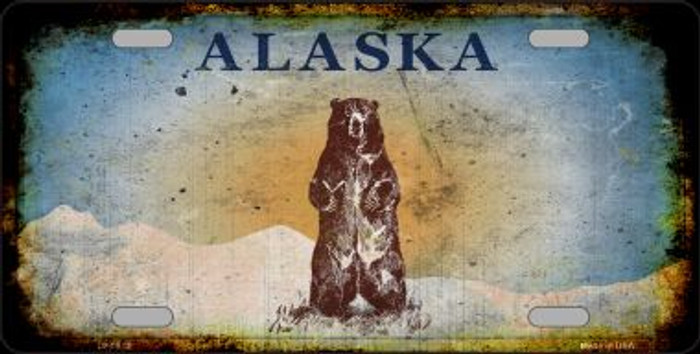 Alaska Bear Rusty Background Metal Novelty License Plate