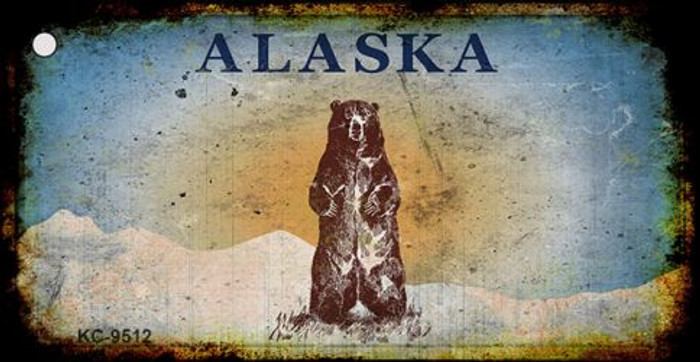 Alaska Bear Rusty Background Novelty Key Chain