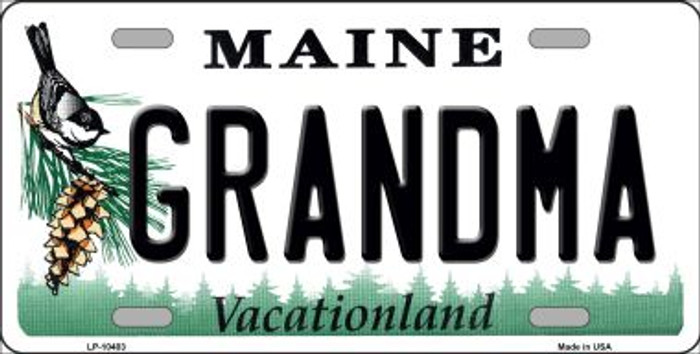 Grandma Maine Background Metal Novelty License Plate