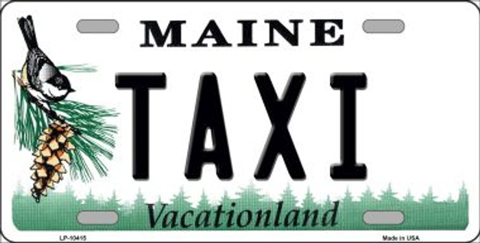 Taxi Maine Background Metal Novelty License Plate