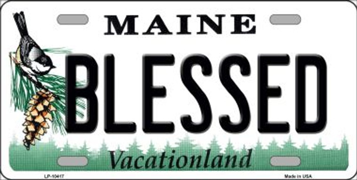 Blessed Maine Background Metal Novelty License Plate