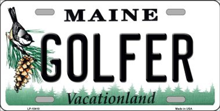 Golfer Maine Background Metal Novelty License Plate