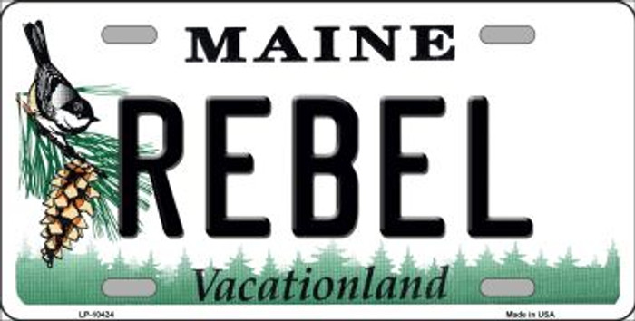 Rebel Maine Background Metal Novelty License Plate