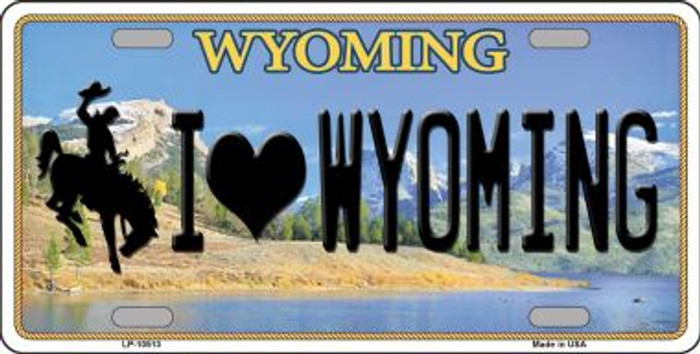 I Love Wyoming Background Metal Novelty License Plate