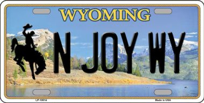 N Joy WY Wyoming Background Metal Novelty License Plate