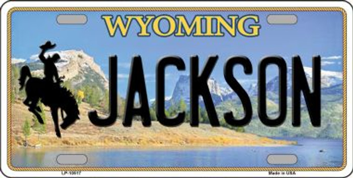 Jackson Wyoming Background Metal Novelty License Plate