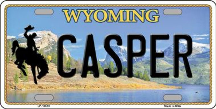 Casper Wyoming Background Metal Novelty License Plate