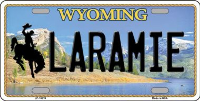Laramie Wyoming Background Metal Novelty License Plate
