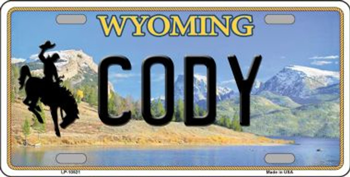 Cody Wyoming Background Metal Novelty License Plate