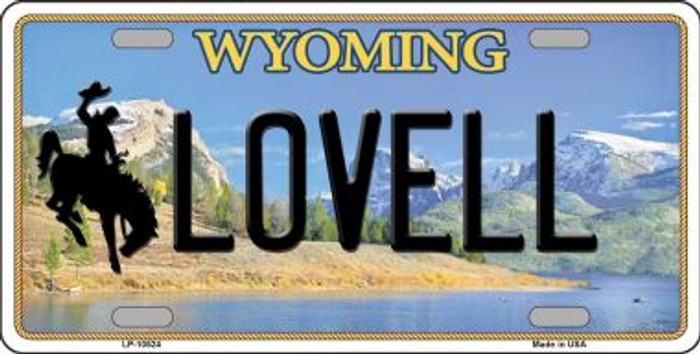 Lovell Wyoming Background Metal Novelty License Plate